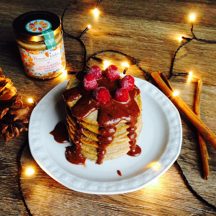 Gingerbread Pancakes With Chocolate Almond And Chia Sauce